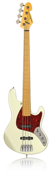 image of sandberg bass Electra bass in creme and red